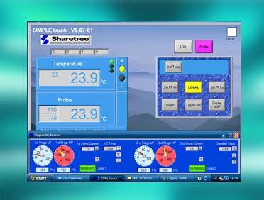 touch screen interface for controlling test chambers